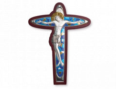 Crocifisso da parete in legno con placca in argento bilaminato