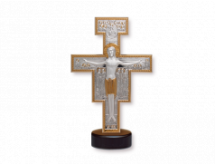 Crocifisso in argento bilaminato con base in legno