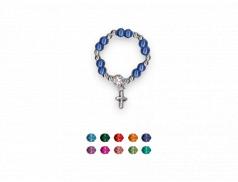 Anello rosario con grani in perla  con croce pendente