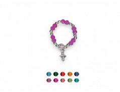 Anello rosario con grani in cristallo con croce pendente