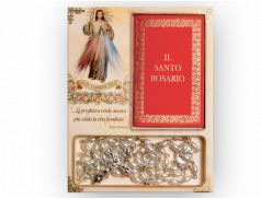 Confezione portarosario  con rosario in perla e libretto di preghiera  10,5x13,5 cm