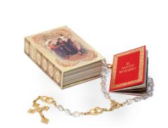 Scatolina portarosario con libricino e rosario per gli sposi