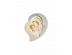 Quadro effetto pietra con placca in resina dipinta con Madonna