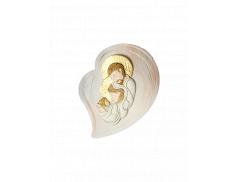 Quadro effetto pietra con placca in resina dipinta con Sacra Famiglia
