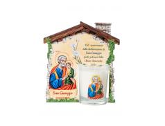 """Confezione """"casetta di San Giuseppe"""" con candela profumata"""