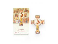 Croce con cartoncino effetto legno a rilievo con figure tematiche