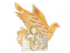 Angioletto comunione in resina dipinto a mano con cartoncino