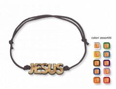 Bracciale in corda regolabile con scritta Jesus in legno