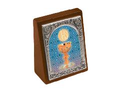 Quadretto effetto legno con cornice argentata 5,2x6,4 cm