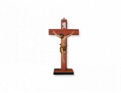 Croce in legno di faggio con base e corpo in resina dipinta a mano