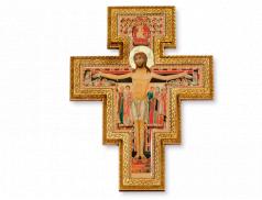 Croce di San Damiano in legno e foglia oro