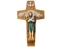 Croce in resina dipinta a mano - Buon pastore