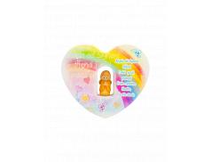 Quadretto cuore per cameretta in legno dipinto con angioletto in resina