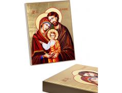 Quadro in foglia oro con telaio in legno confezionato in scatola cartone patinato bianco