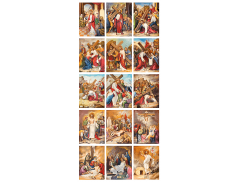 "Set 15 Tele con ""Via Crucis""  13 x 18 cm"