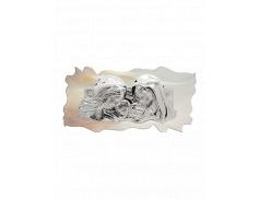 Quadro effetto pietra con placca in resina argentata