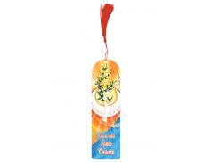 Segnalibro plastificato con fiochetto colorato