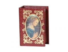 Portarosario a forma di libro  con stampigliatura in oro e immagine smaltato