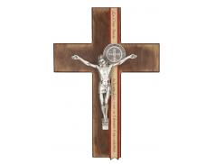 """Croce in legno """"San Benedetto"""" con cristo e medaglie in metallo 34 cm"""