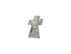 Quadretto croce in resina con riporto in argento e rilievi