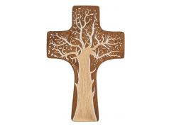 Croce in legno sagomato con incisioni