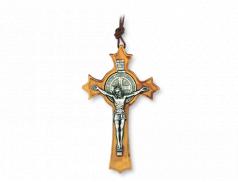 Crocetta da collo di San Benedetto in legno d'ulivo