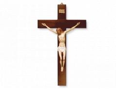 Croce in legno con corpo in plastica