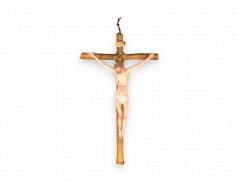 Croce in resina con corpo in plastica dipinto a mano
