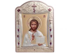 Icone ortodosse in legno e argento PUD 11,3x15,2 cm