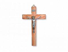 Croce in legno d'ulivo con cristo in metallo argentato