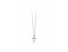 Collana in arg. 925 con croce stilizzata in zirconi