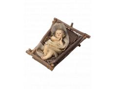 Bambino Gesù in resina dipinto a mano su culletta in legno e paglia 25 cm