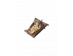 Bambino Gesù in resina dipinto a mano su culletta in legno e paglia 14 cm