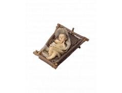 Bambino Gesù in resina dipinto a mano su culletta in legno e paglia 20 cm