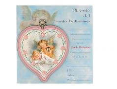 """Sopraculla in polimero a cuore con diplomino personalizzabile per il battesimo """"Disponibile in rosa e celeste  """""""