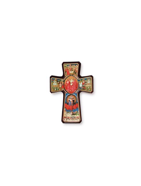 Croce della Trinità legno con dettagli oro a caldo
