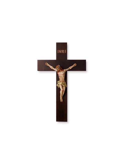 Crocifisso in legno massello con Cristo in resina dipinto a mano