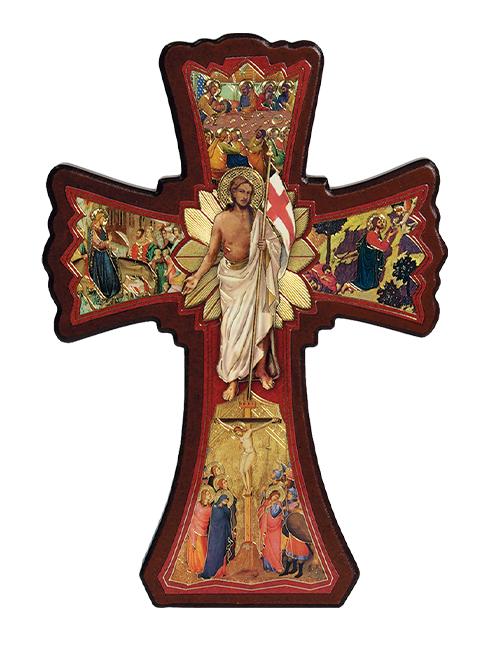 Croce della Settimana Santa con dettagli oro a caldo