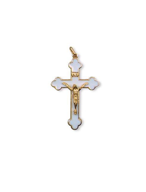 Croce smaltata in metallo