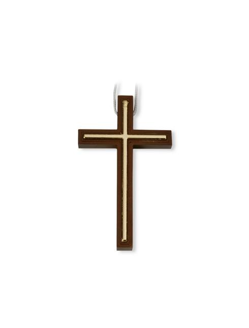 Croce in polimero effetto legno con laccio