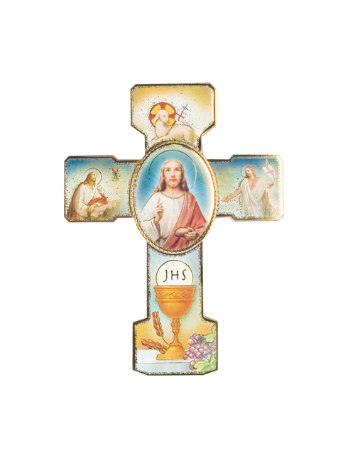 Croce  in polimero con dettaglio immagini in oro a caldo