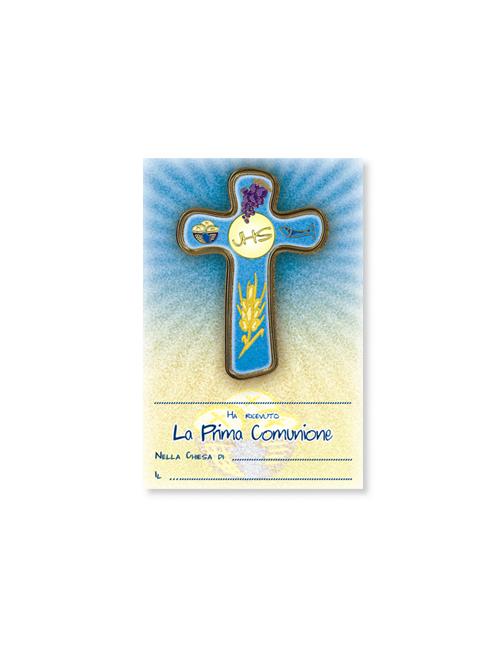 Croce in polimero con diplomino in carta pergamena