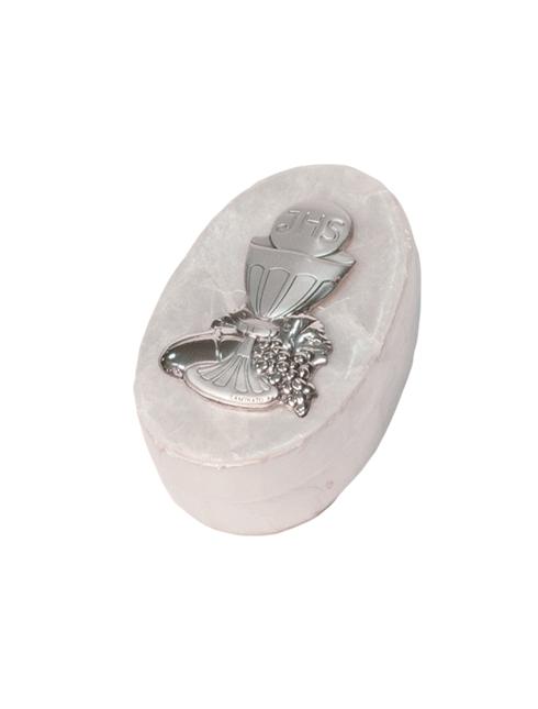 Portarosario in madreperla con placca in bilaminato d'argento 4,5x7 cm
