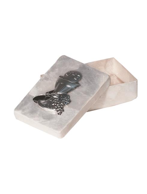 Scatola in madreperla con placca in bilaminato d'argento 5x7 cm