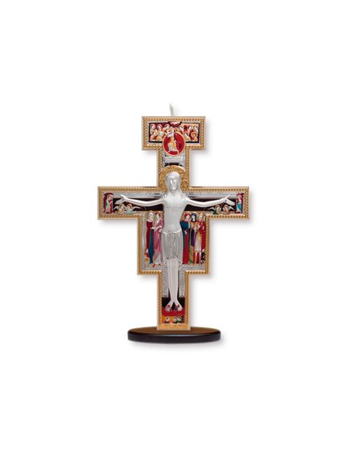 Crocifisso in argento bilaminato con dettagli colorati con base in legno