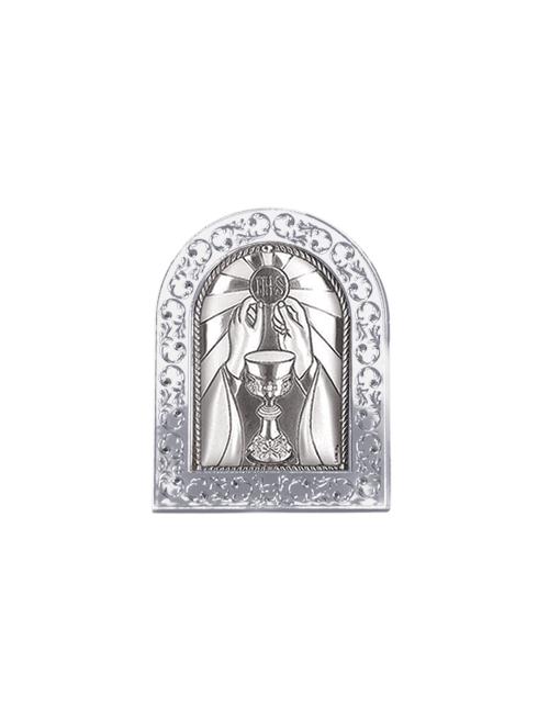Quadretto in plex da poggio cornice con dettagli argentati e placca in bilaminato d'argento  6x9 cm
