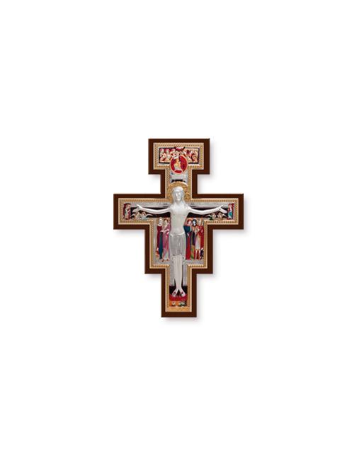 Crocifisso in legno con placca in argento bilaminato con dettagli colorati