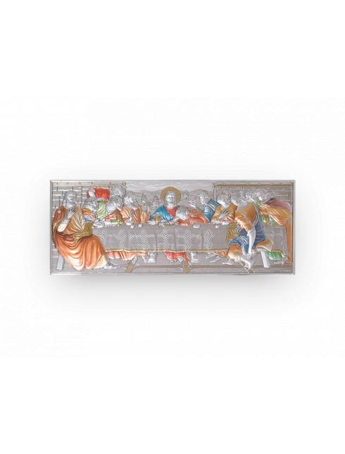 Quadro da parete in argento bilaminato con dettagli colorati