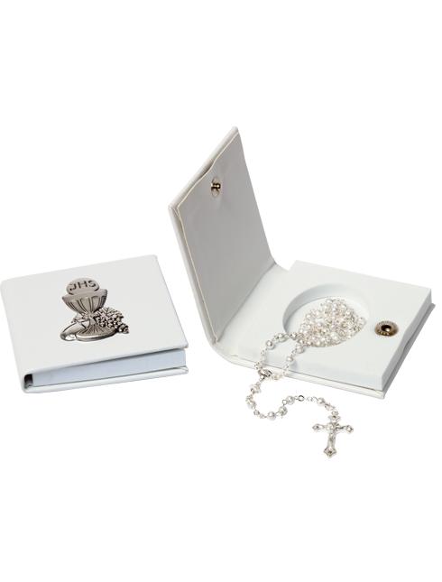 Confezione in eco-pelle con soggetto in argento e corona in metallo satinato