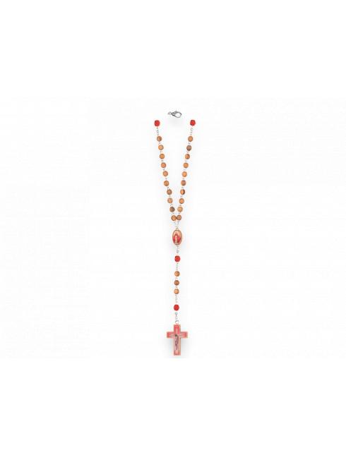 Rosario in legno d'ulivo con grani tondi  e pater rosso in cristallo